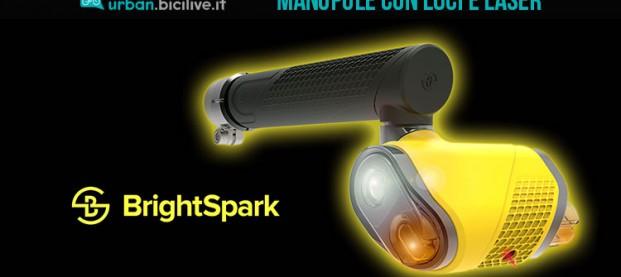 Le manopole Brightspark con luci, vibrazione e laser per una guida sicura