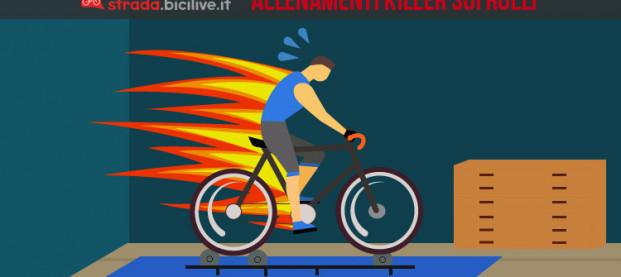 Quattro allenamenti killer sui rulli in bici da corsa