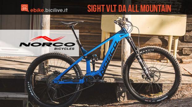 Norco Sight VLT, la ebike da all mountain con telaio in carbonio
