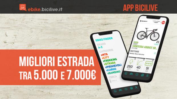 BiciLive APP: le migliori e-bike da strada tra i 5.000 e i 7.000 euro